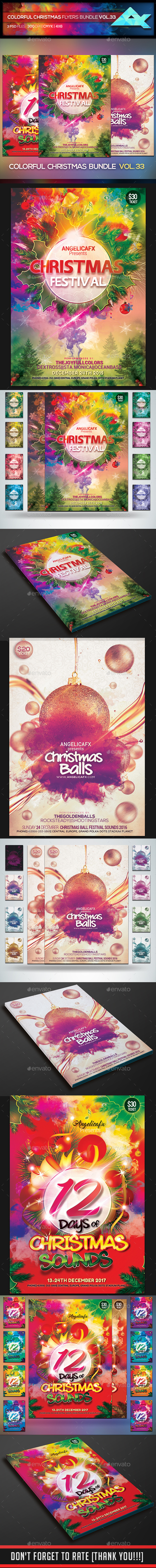 Christmas Colors Flyers Bundle Vol. 33 - Flyers Print Templates