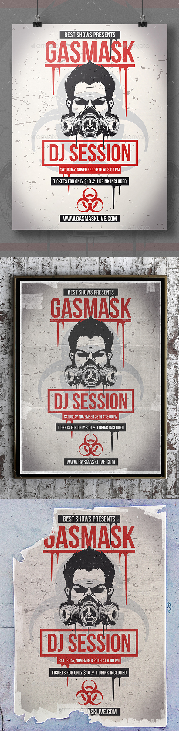 Gas Mask Flyer Template - Clubs & Parties Events
