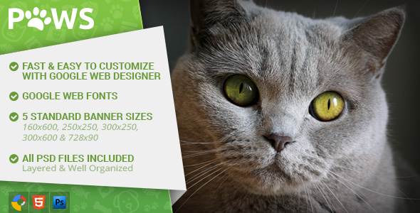 Paws - Pet Store HTML5 Ad Template - CodeCanyon Item for Sale