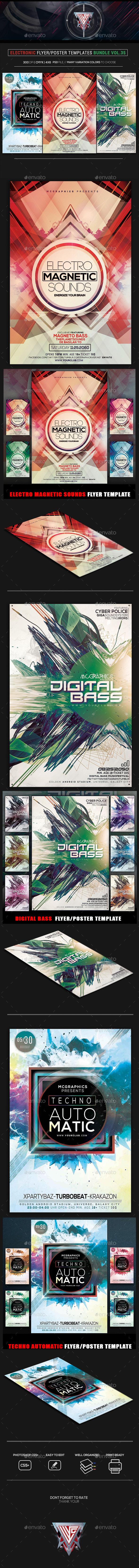 Electro Music Flyer Bundle Vol. 35 - Flyers Print Templates
