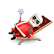 3D Illustration of Santa Claus in a Deckchair Nulled