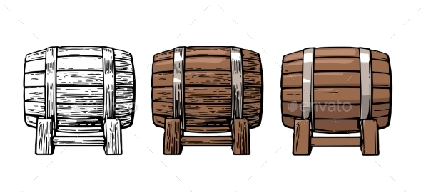 Wooden Barrel Color Vintage Engraving and Flat - Food Objects