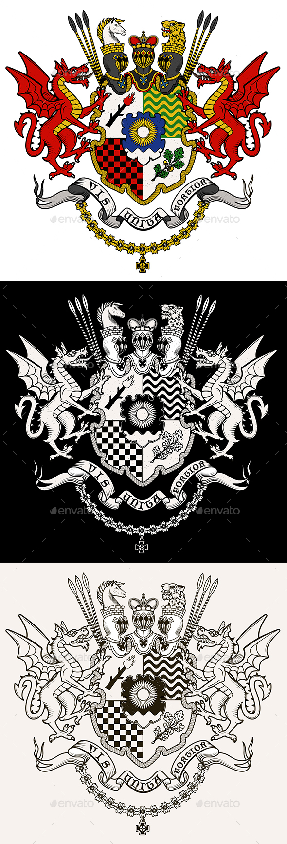 Coat of Arms of Knight Dragons - Monsters Characters