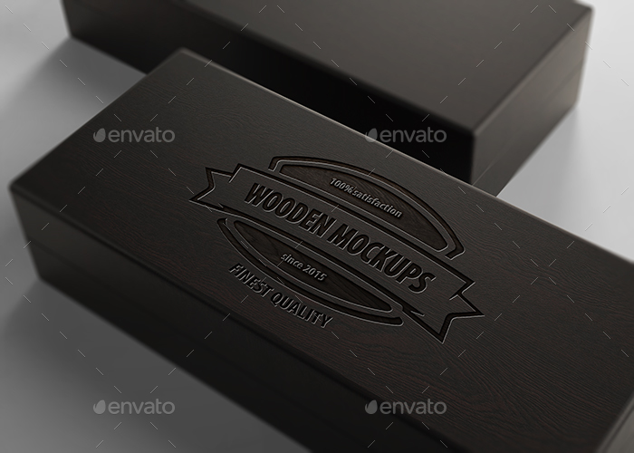 Wooden Logo Mockups : black wooden boxes - Aboutintivar.Com