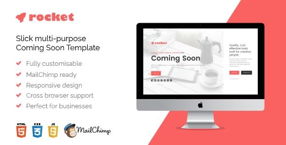 Rocket – Responsive Multi-Purpose HTML5 Coming Soon Template