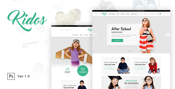 Kidos - Kids Clothing eCommerce PSD Template