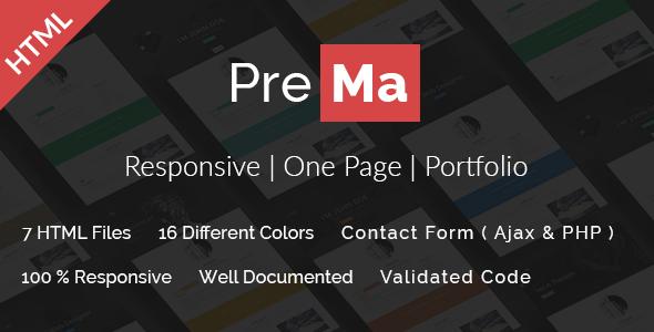 Prema – Personal Portfolio HTML One Page Template.