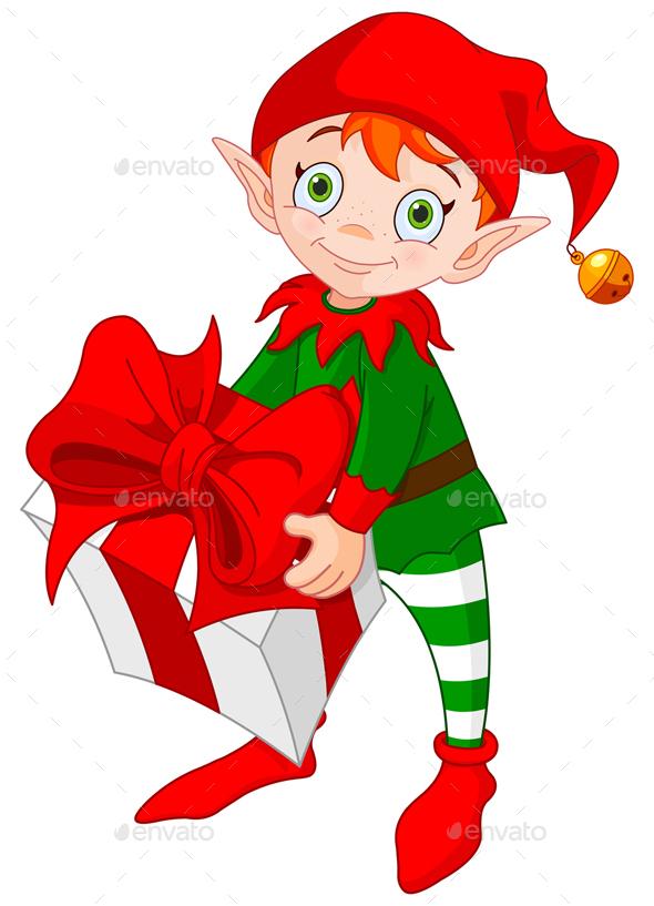 Christmas Elf with Gift - Christmas Seasons/Holidays