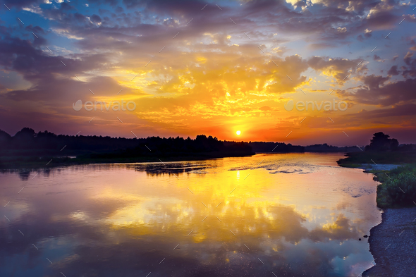 Summer river landscape with multicolored sunrise - Stock Photo - Images