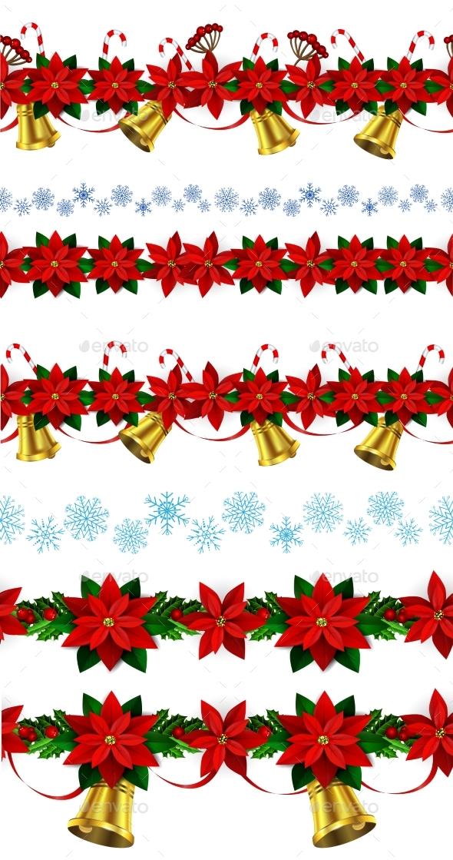 Set Of Seamless Christmas Borders - Christmas Seasons/Holidays