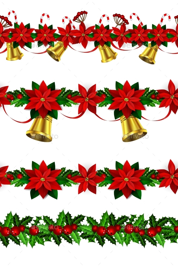 Set Of Seamless Christmas Borders - Christmas Seasons/Holidays