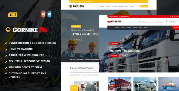 Construction, Building & Logistics HTML Template - Business Corporate