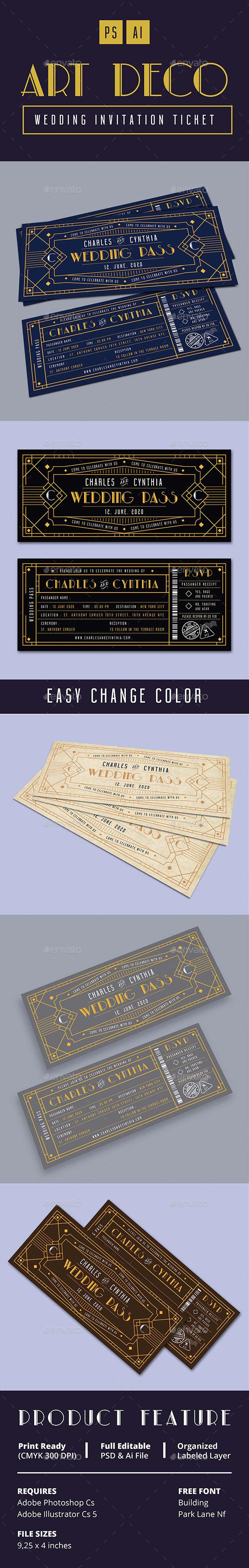 Art Deco Wedding Invitation Ticket Card - Weddings Cards & Invites