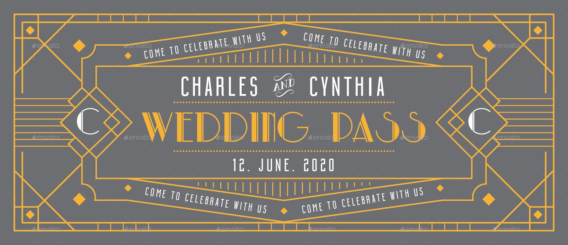 Art deco wedding invitation ticket card by totemdesigns graphicriver image set07wedding invitation ticketfrontgreyg stopboris Gallery