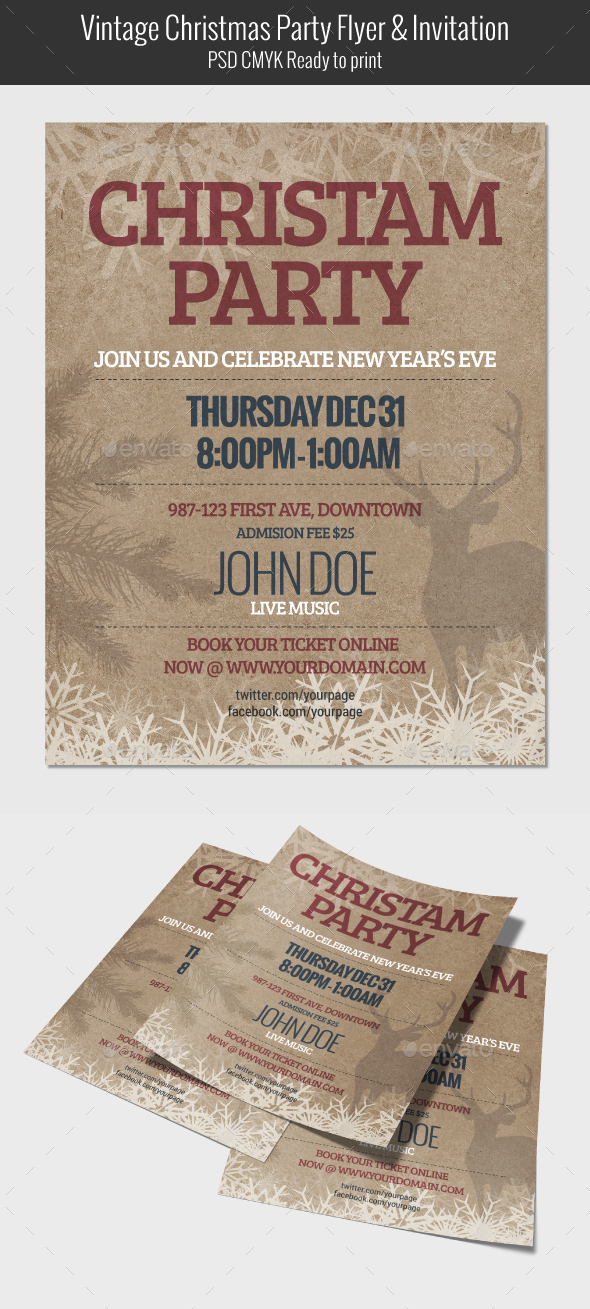 Vintage Christmas Party Flyer & Invitation - Clubs & Parties Events