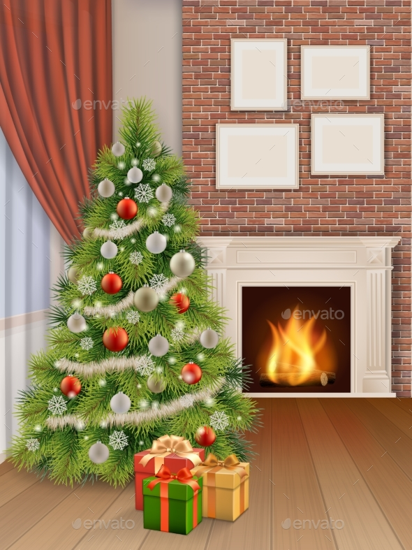Interior With Christmas Tree Red Curtain And - Christmas Seasons/Holidays