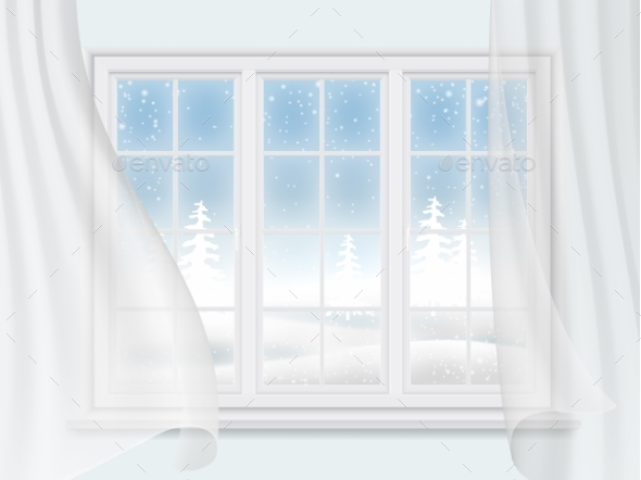 Winter Window With Curtains - Seasons Nature
