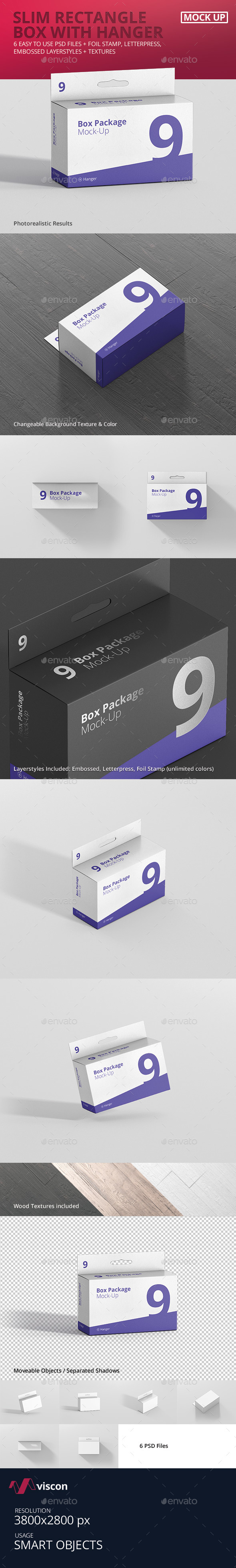 Package Box Mockup - Slim Rectangle with Hanger - Miscellaneous Packaging