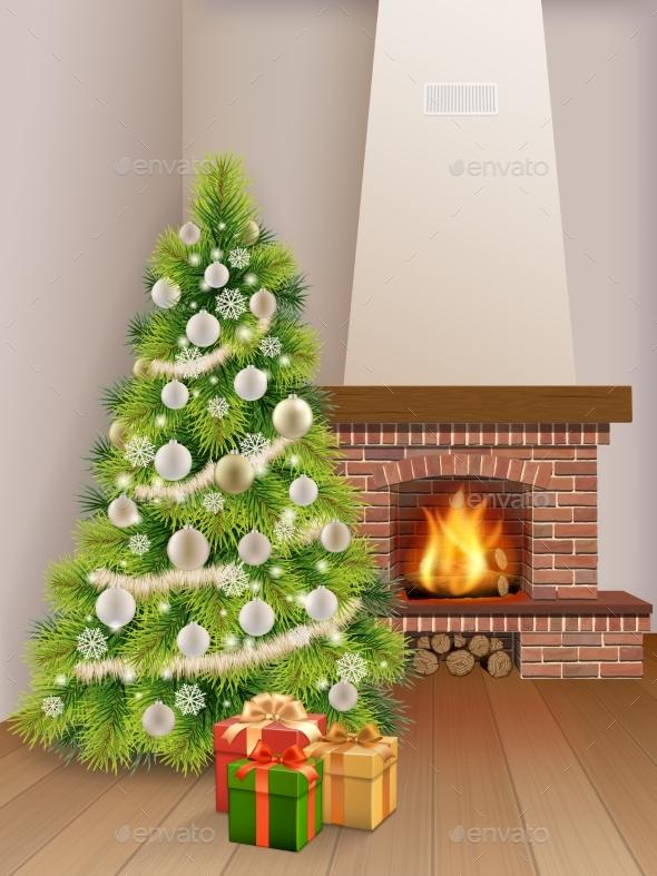 Interior Fireplace Christmas Tree Gift Box - Christmas Seasons/Holidays