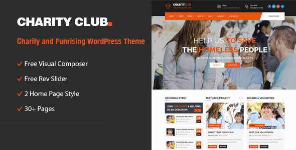 Charity Club – Charity/Fundraising WordPress Theme