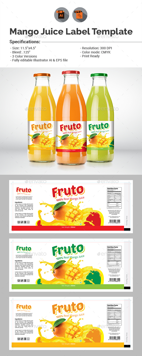 Juice Label Template - Packaging Print Templates
