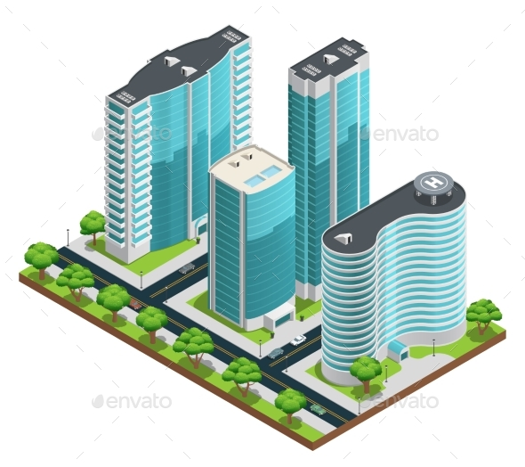 Isometric Modern City Composition - Miscellaneous Conceptual