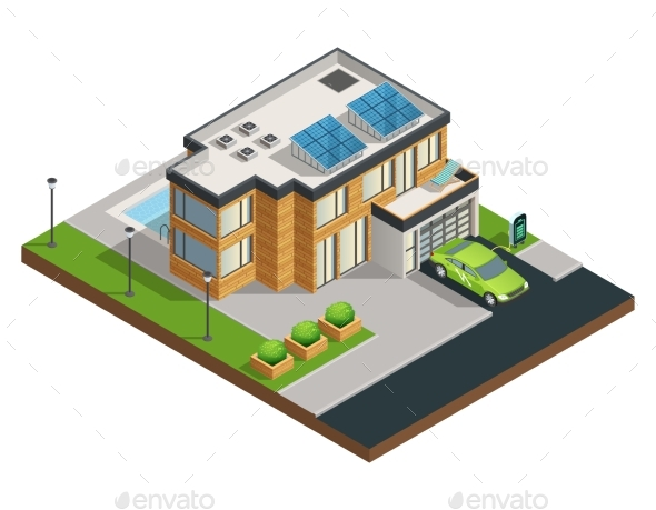 Green Eco House Isometric Illustration - Miscellaneous Conceptual