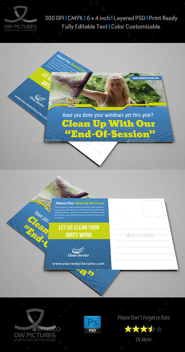 Cleaning Services Postcard Template Vol.2 - Cards & Invites Print Templates