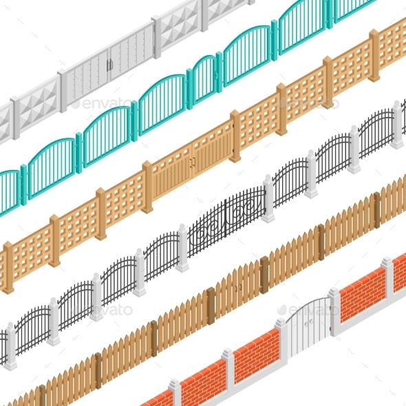 Fences And Gate Isometric Elements - Decorative Symbols Decorative