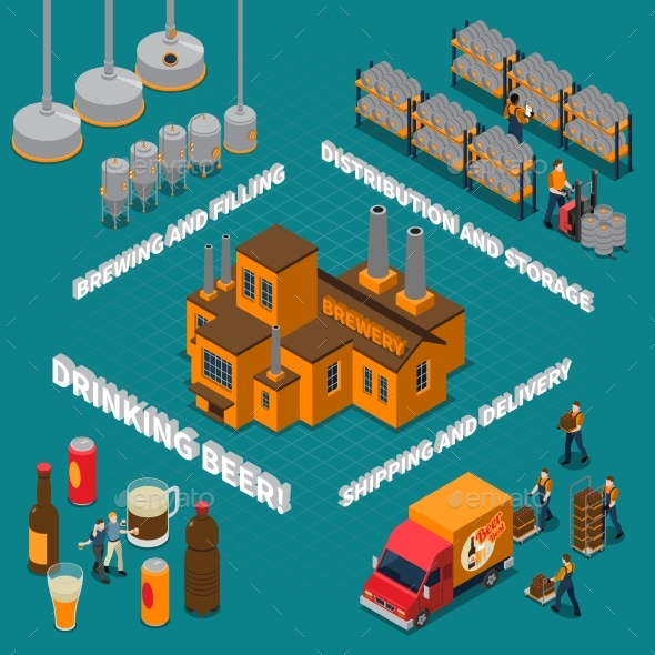 Brewery Isometric Composition - Business Conceptual