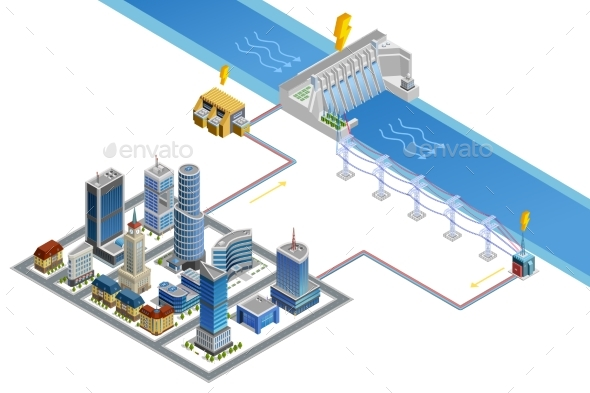 Hydroelectric Station Isometric Poster - Buildings Objects
