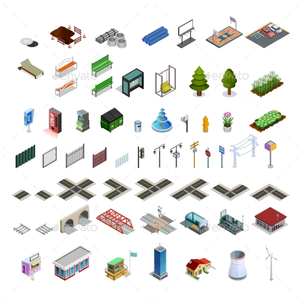 City Map Constructor Isometric Elements Collection - Miscellaneous Conceptual