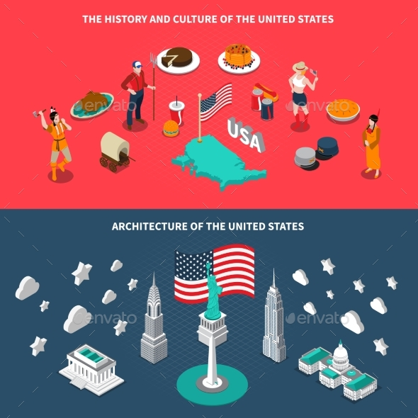 USA Touristic Attractions 2 Isometric Banners - Travel Conceptual