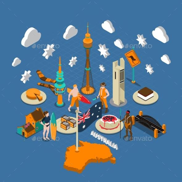 Australian Touristic Attractions Symbols Isometric - Travel Conceptual