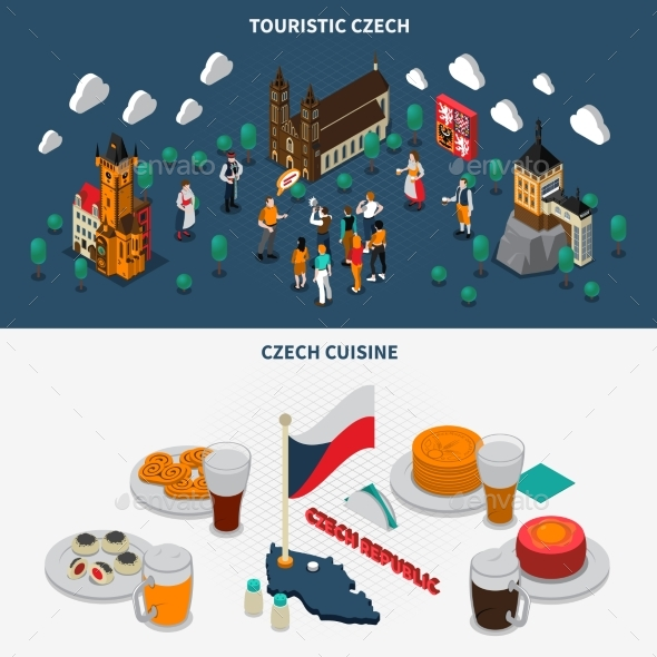 Czech Republic 2 Touristic Isometric Banners - Travel Conceptual