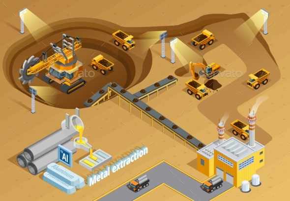Mining Isometric Illustration - Industries Business