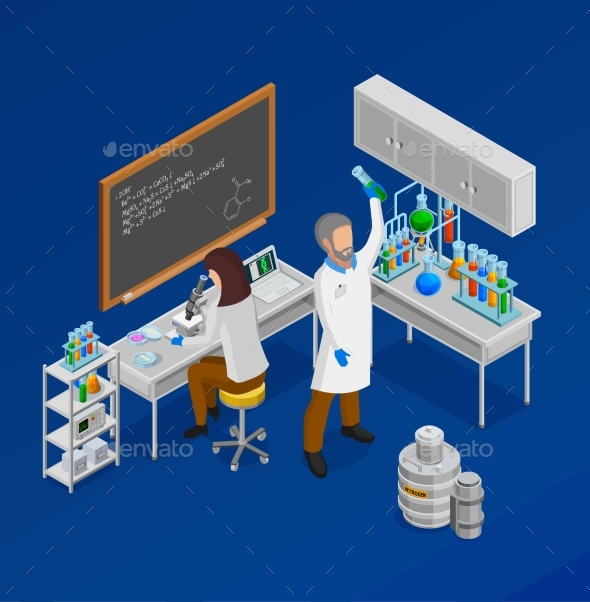Scientist Isometric Concept Composition - People Characters