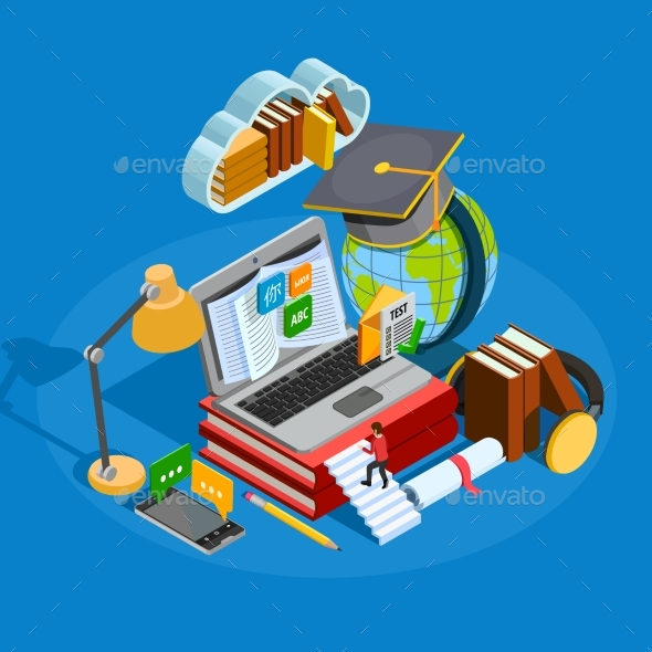 E-learning Isometric Concept - Technology Conceptual