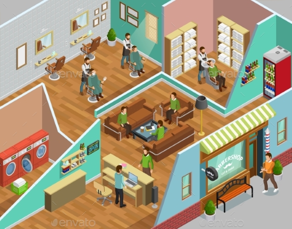 Barbershop Interior Isometric Illustration - Services Commercial / Shopping