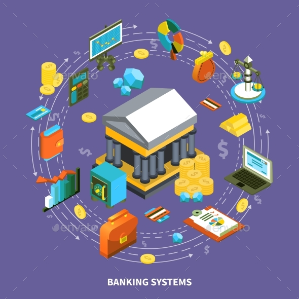 Banking Systems Isometric Round Composition - Decorative Vectors