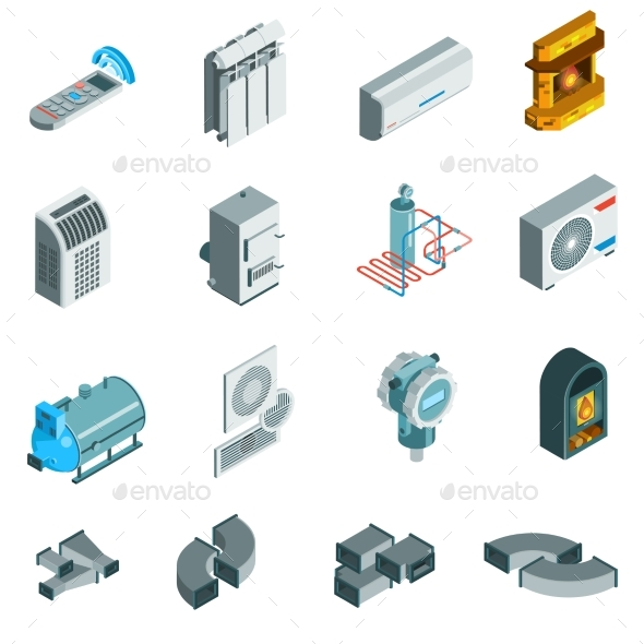Heating Cooling System Isometric Icons Set - Abstract Conceptual