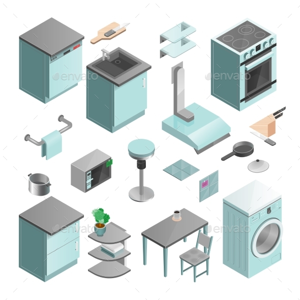 Kitchen Interior Isometric Icons Set - Abstract Conceptual