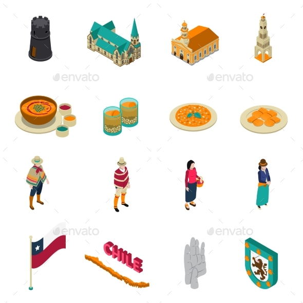 Chile Touristic Attractions Isometric Icons Set - Travel Conceptual