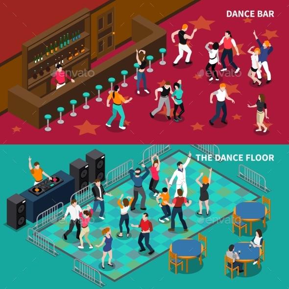 Bar Dance Floor 2 Isometric Banners - Backgrounds Decorative