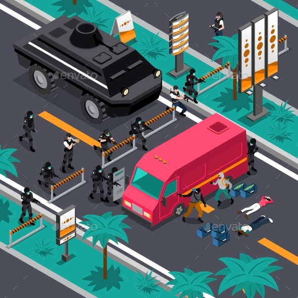 Swat In Action Isometric Composition Poster - People Characters