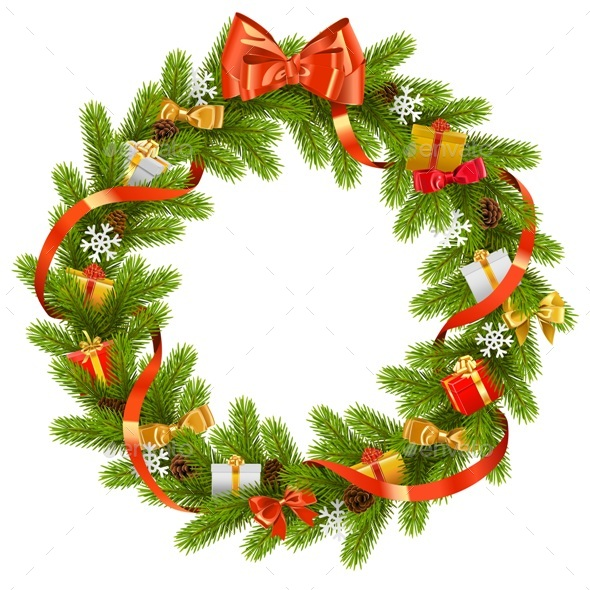 Vector Fir Wreath with Gifts - Christmas Seasons/Holidays