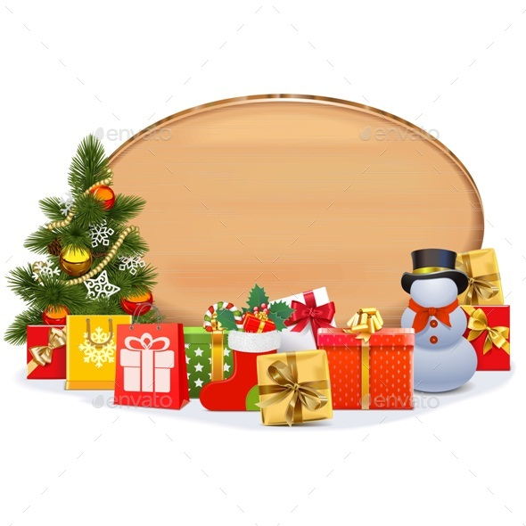 Vector Christmas Gifts with Oval Board - Christmas Seasons/Holidays