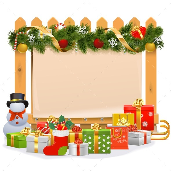 Vector Wooden Fence with Christmas Decoration - Christmas Seasons/Holidays