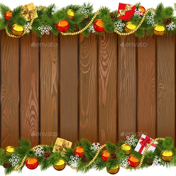Vector Seamless Christmas Wooden Board - Seasons/Holidays Conceptual