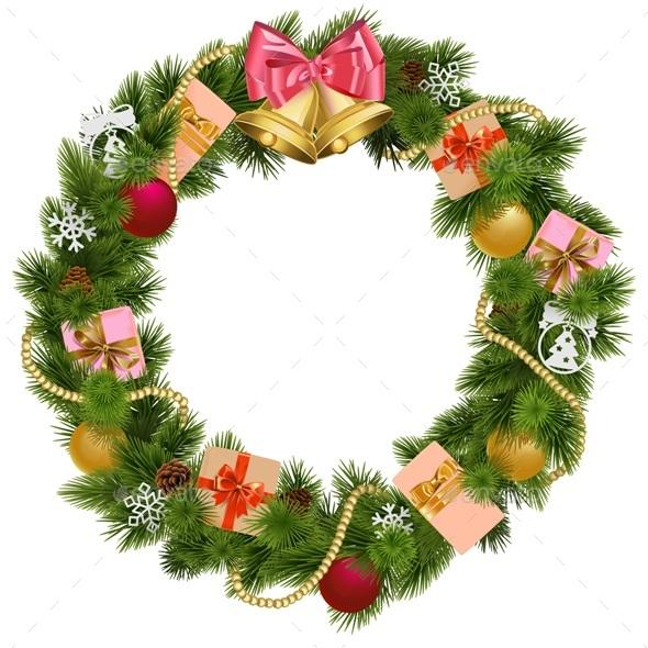 Vector Christmas Wreath with Christmas Bell - Christmas Seasons/Holidays